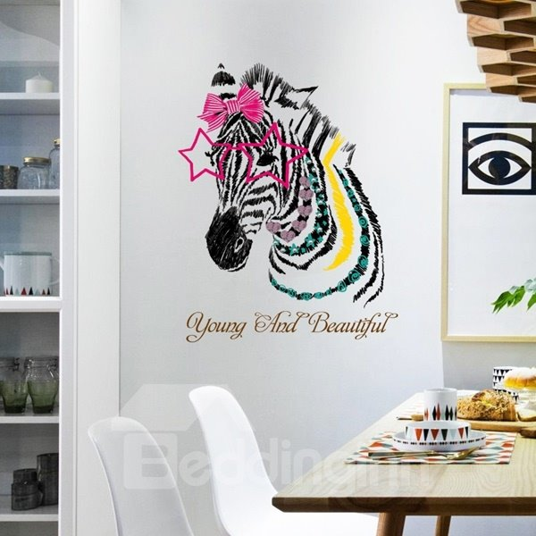 Gorgeous Beautiful Make up Zebra Pattern Wall Stickers