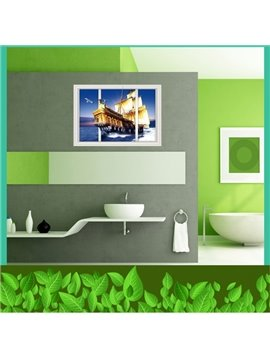Unique Design Sailing Boat 3D Window Scenery Wall Stickers