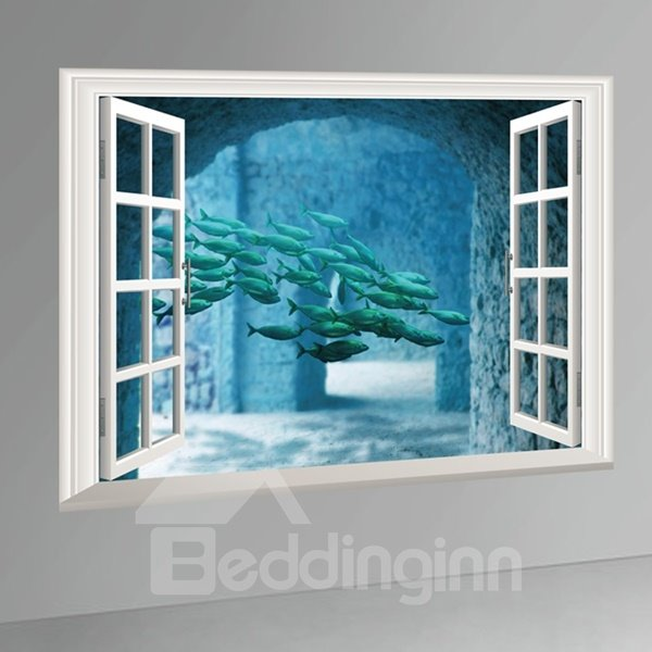 Creative Fishes under Sea Pattern Window Scenery Wall Stickers