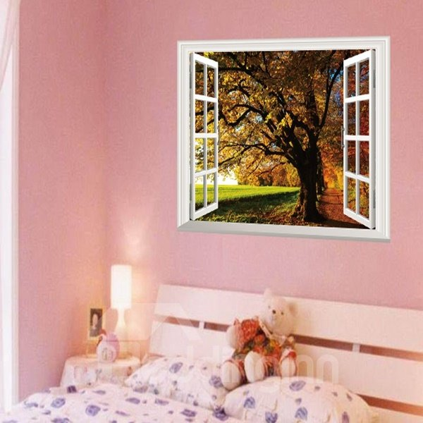 Decorative Autumn Tree and Grass Pattern Window Scenery Wall Stickers