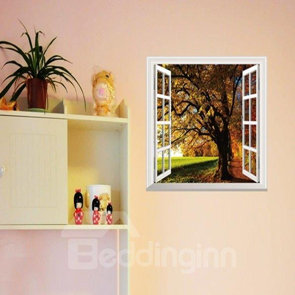 Decorative Autumn Tree and Grass Pattern Window Scenery Wall Stickers