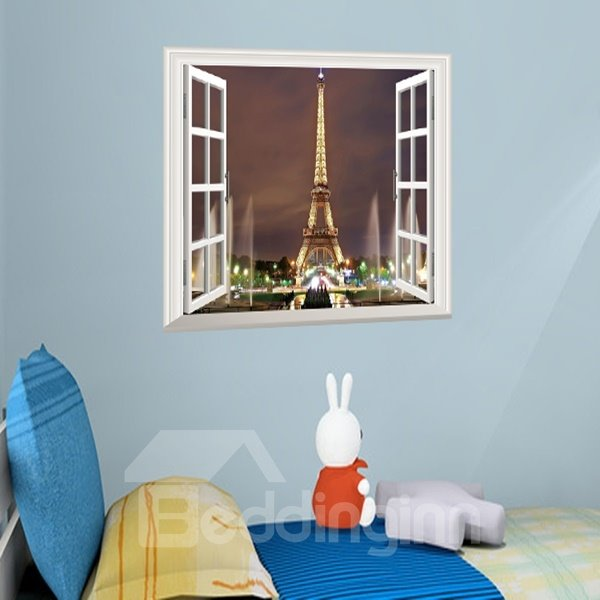 Amusing Eiffel Tower Pattern Window Scenery Removable Wall Stickers