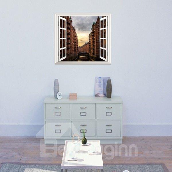 Beautiful Sunset City Window Scenery Removable Wall Stickers
