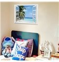 Blue Sky on Seaside and Palm Tree 3D Window Wall Stickers