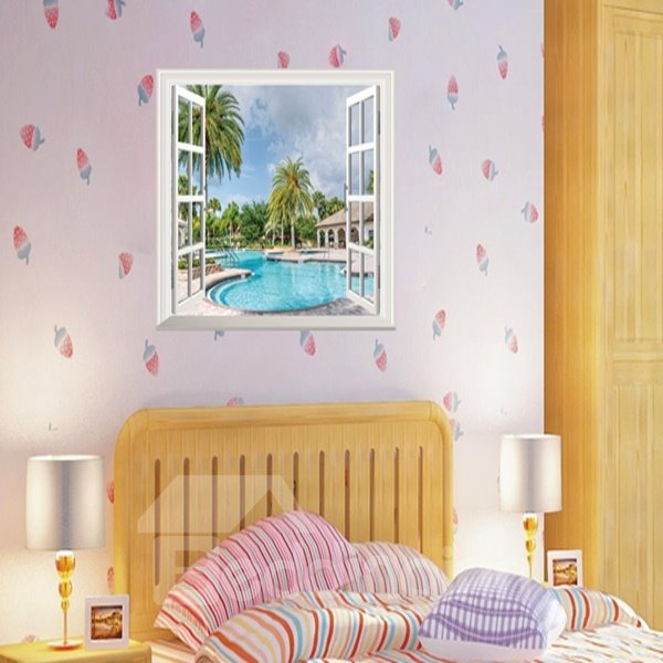 Cool Swimming Pool and Palm Tree Window Scenery Wall Stickers