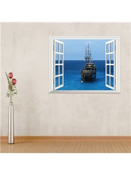 Amazing Sea and Sailing Window Scenery Removable Wall Stickers