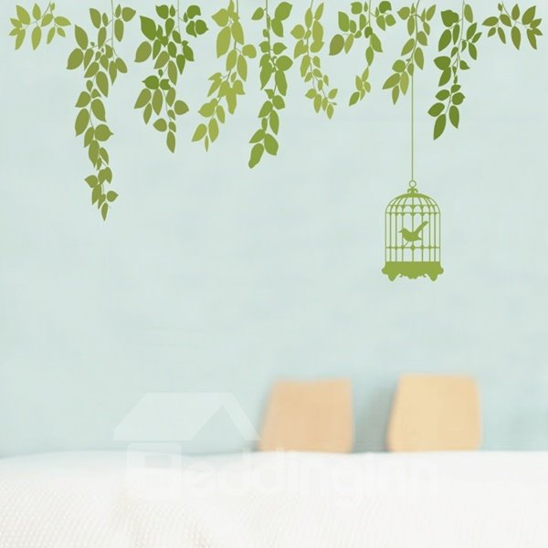 Emerald green Plant Leaf and Birdcage Pattern Wall Stickers