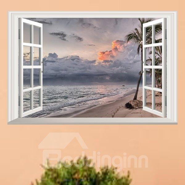 Graceful Sunset Glow Window Scenery Removable Wall Stickers