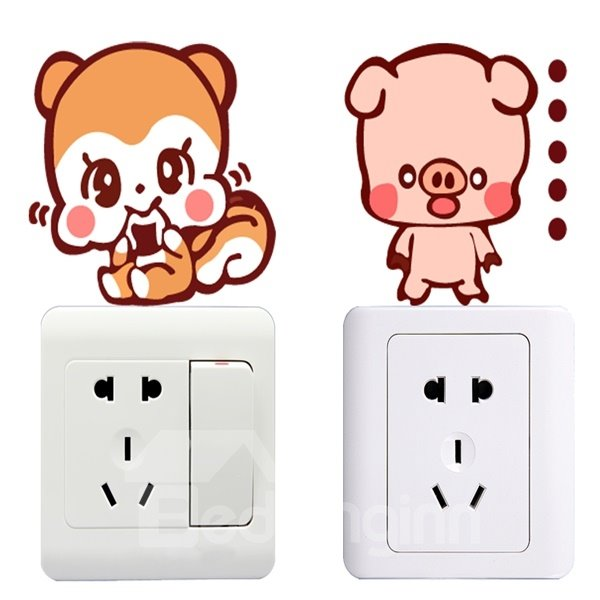 Different Kind of Animal Pattern Light Switch Decoration Wall Stickers