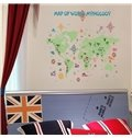 Green Decorative Map of World Pattern Wall Stickers