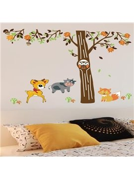 Leisurely Deer and Cow under the Tree Pattern Wall Stickers
