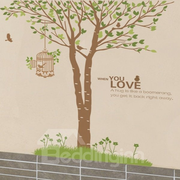 Natural Tree and Birdcage Love Pattern Wall Stickers