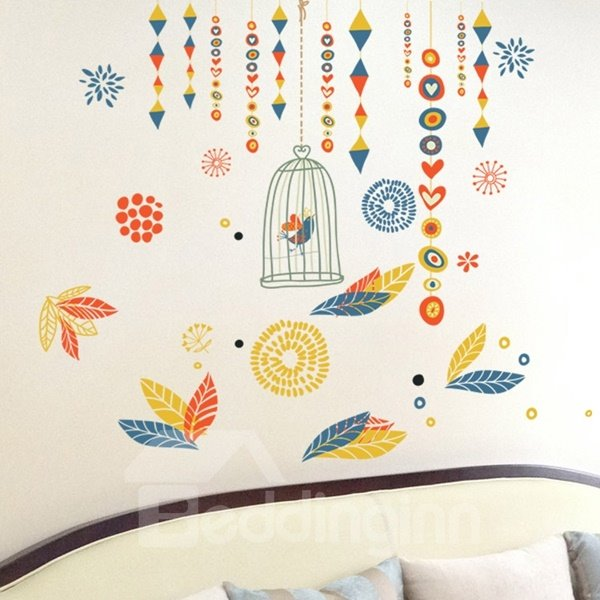 Decorative Flower and Birdcage Pattern Wall Stickers