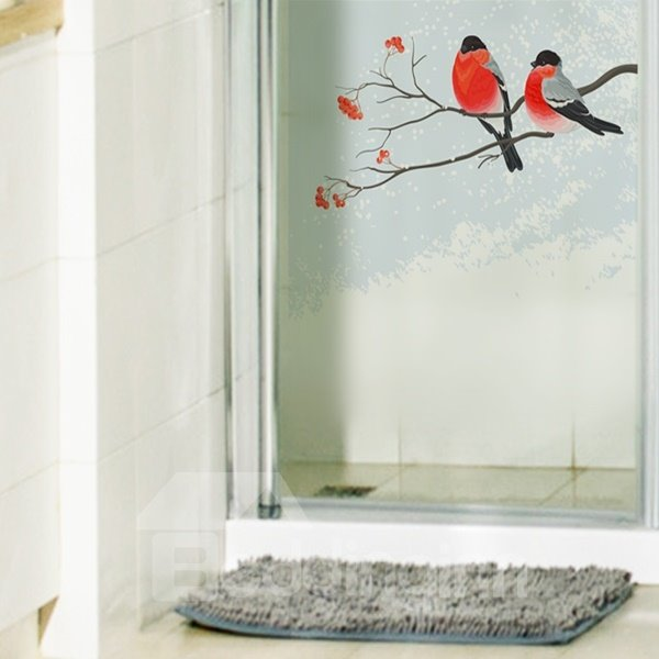 Amazing Red Birds and Branch Pattern Glass Decoration Wall Stickers