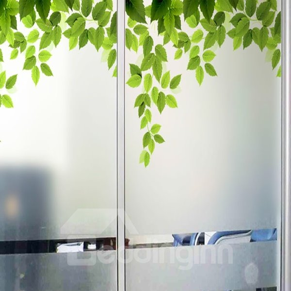 Green Tree Leaves Pattern Glass Decoration Wall Stickers