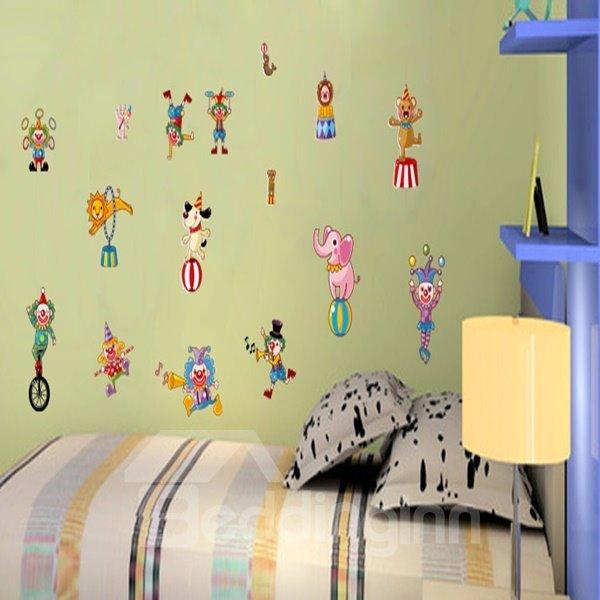 Amusing Decorative Animal Acrobatics Pattern Wall Stickers