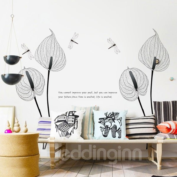 Black Flower and Dragonfly Pattern Inspiring Life Letters Wall Stickers
