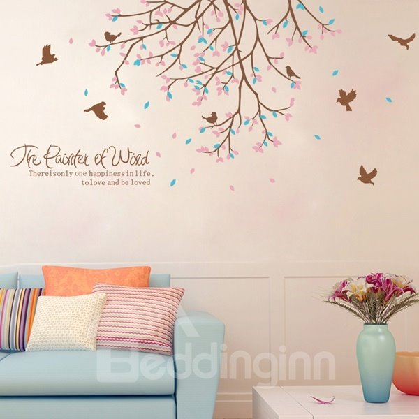 Beautiful Tree and Bird Pattern Love and Be Loved Letters Wall Stickers