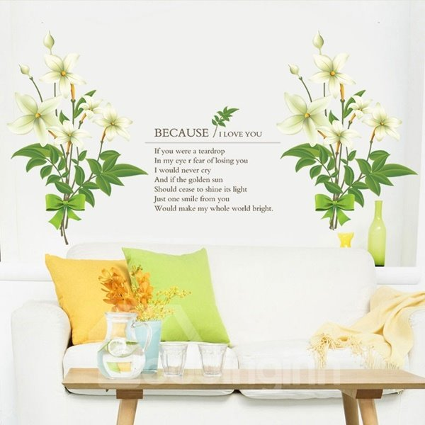 Romantic Letters and Flower Pattern Living Room Decorative Wall Stickers