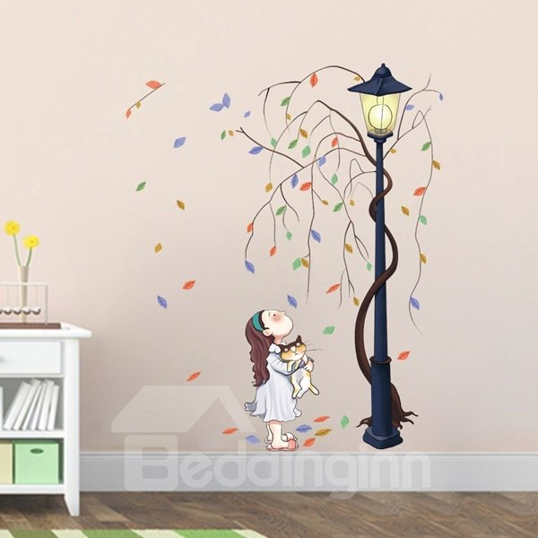 Lovely Little Girl Under Street Light Pattern Wall Stickers