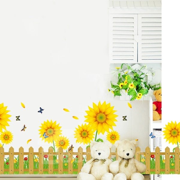 Decorative Sunflowers and Butterflies Garden Scenery Pattern Wall Stickers