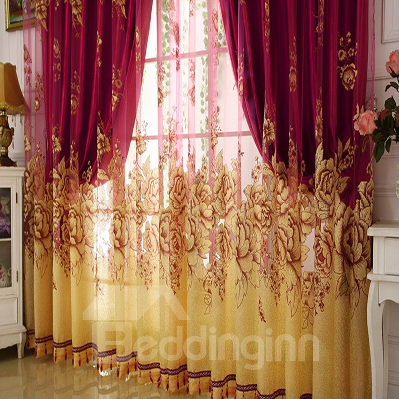 Blackout Classical Burgundy Gilding Carving Sheer And Solid Lining Room Curtain Sets