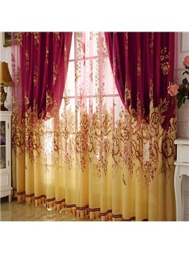 Classical Burgundy Gilding Carving Sheer & Solid Shading Cloth Set