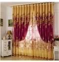 Blackout Classical Burgundy Gilding Carving Sheer & Solid Lining Curtain Sets