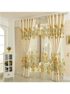Country Style Hollow Jacquard Golden Flowers Shading Cloth & Sheer Set