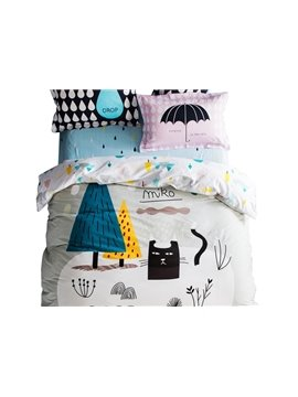 Unique Design Cat and Tree Print 4-piece Kids Cotton Duvet Cover Sets