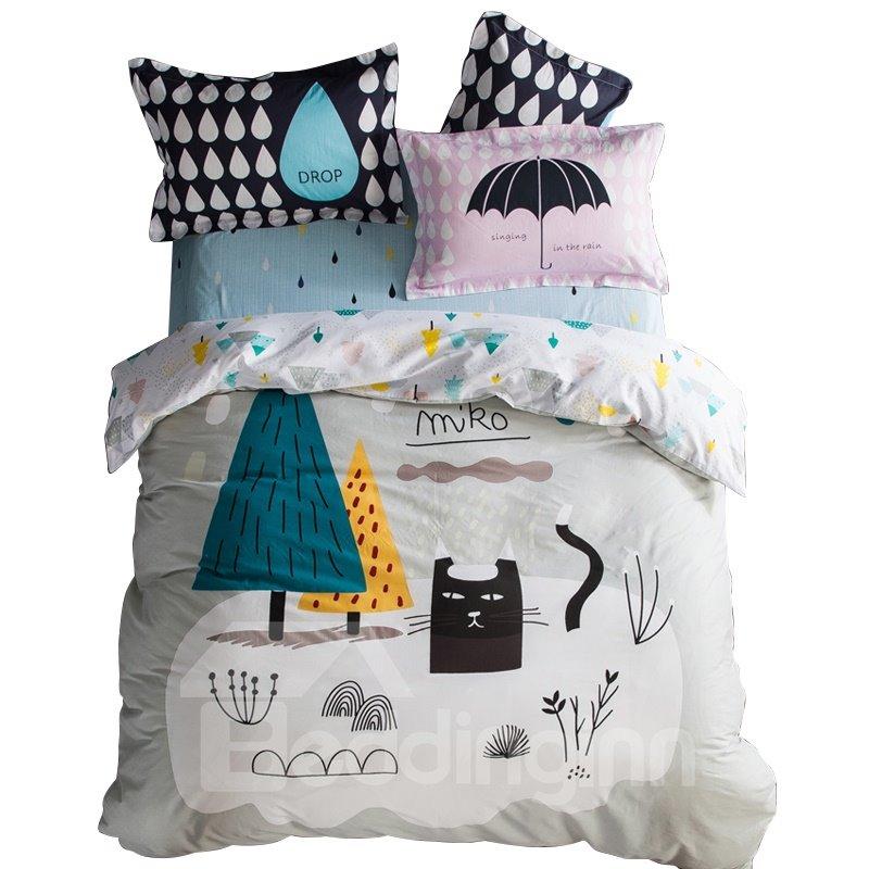 Unique Design Cat and Tree Print 4-piece Kids Cotton Duvet Cover Sets