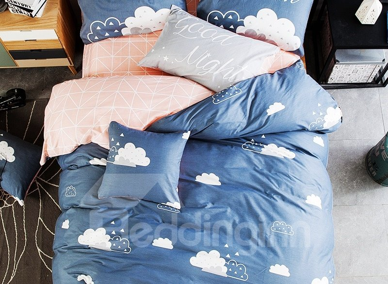 Attractive White Clouds Print 4-piece Kids Cotton Duvet Cover Sets