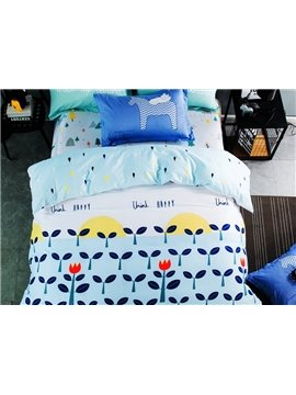 Blue Wish Tree Print 4-piece Kids Cotton Duvet Cover Sets