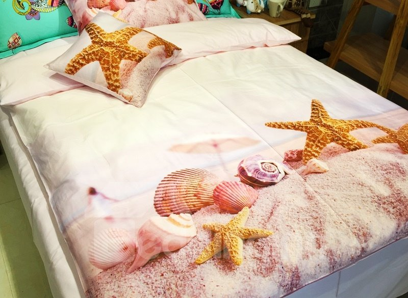 Delicate Starfish and Shells on Sand Print 3-piece Kids Cotton Duvet Cover Sets