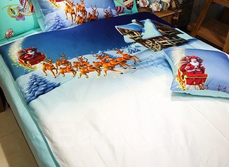 Fabulous Santa Claus and Elves in Snow Print 3-piece Kids Cotton Duvet Cover Sets