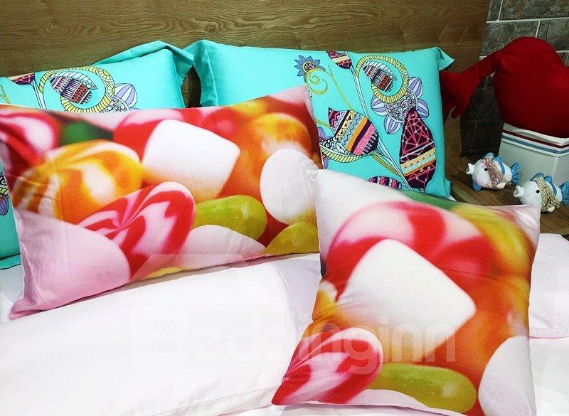 Bright Colorful Candy Print 3-piece Kids Cotton Duvet Cover Sets