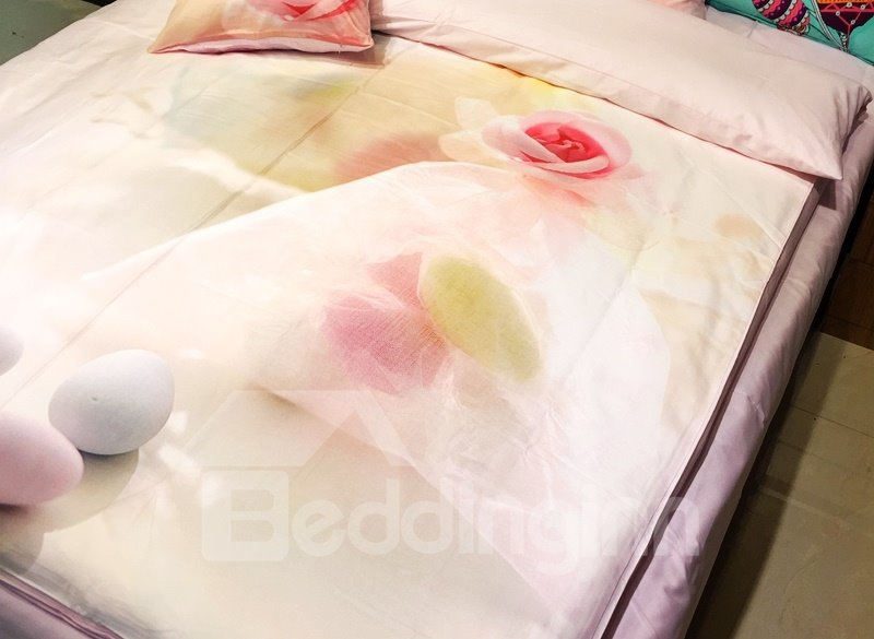 Pretty Pink Rose and Pebble Print 3-piece Kids Cotton Duvet Cover Sets