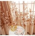 Exquisite Coffee Color Embroidery and Burnout Lily Printing Shading Cloth & Sheer Set