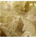 Luxurious Golden Damask Embroidery Shading Cloth & Sheer Set