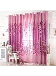 Elegant Purple Burnout Lily Printing Shading Cloth & Sheer Set