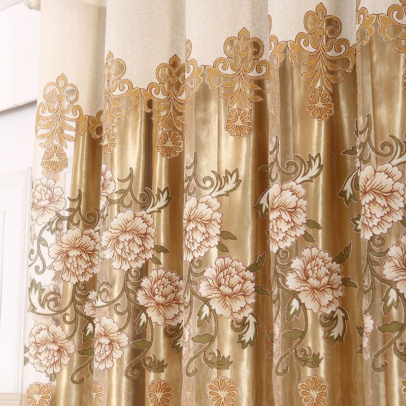 Decoration Polyester European Style Peony and Damask Shading and Sheer Curtain Set