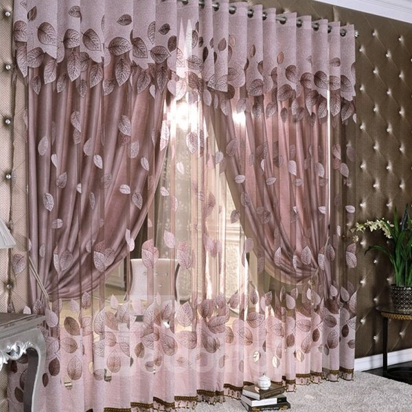 Gilding Jacquard Leaf Pattern Purple Sheer & Lined Curtain Sets