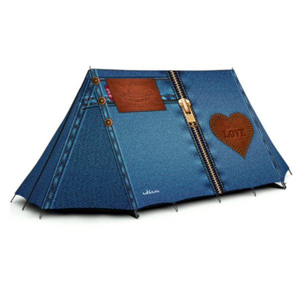 3-Person Jeans 3D Printed Pattern Quick-Set up Outdoor Camping Tent