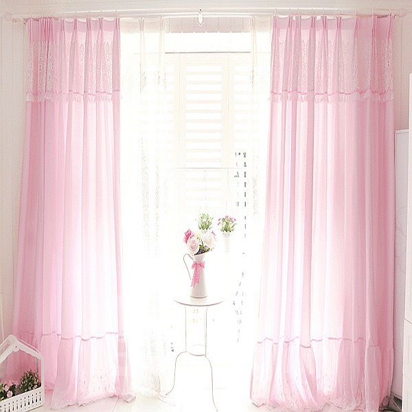 Romantic Solid Pink Cotton Curtain & Drape with Lace Valance