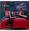 Delicate Red and Blue Reactive Printing 4-Piece Cotton Duvet Cover Sets