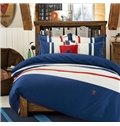 Academy Style Blue and White 4-Piece Cotton Duvet Cover Sets