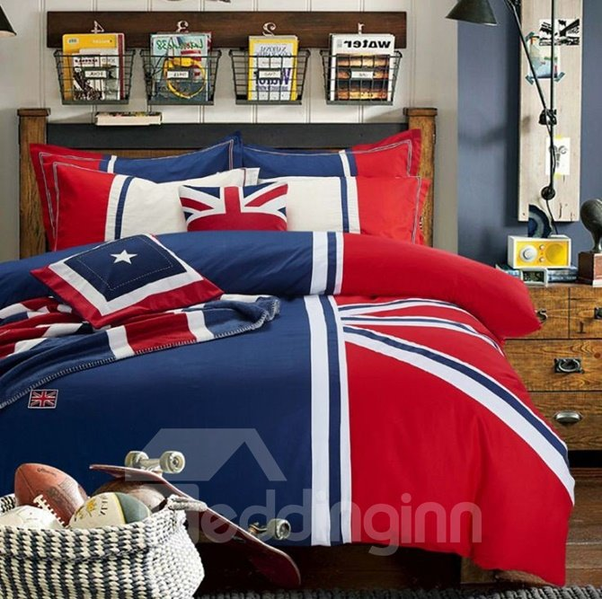 Unique Design Red and Blue 4-Piece Cotton Duvet Cover Sets
