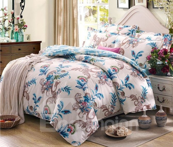 Elegant Retro Flower Vine 4-Piece Cotton Duvet Cover Sets