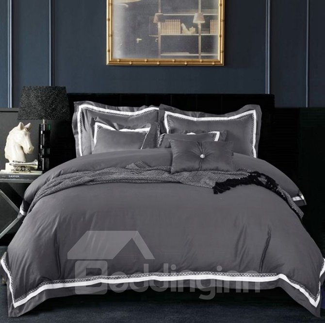 Luxurious Solid Color 100% Cotton 4-Piece Duvet Cover Sets