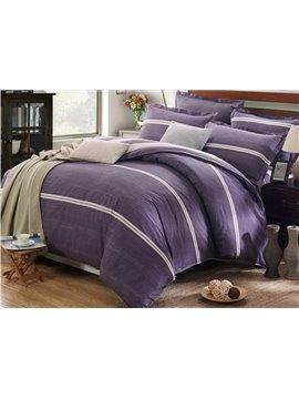 Popular Simple Stripe Design Purple 4-Piece Cotton Duvet Cover Sets